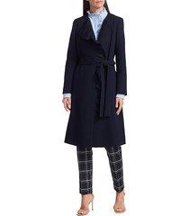 lafayette 148 new york women's margo ruffle front jacket - ink - size xl
