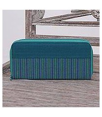 cotton wallet, 'humble lurik teal' (indonesia)