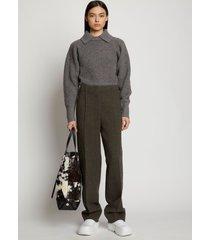 proenza schouler lofty rib knit collared sweater charcoal/grey xxl