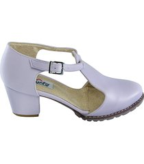 zapato tipo tacon trapecio -lila