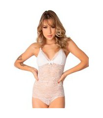 1 body rendado sensual feminino sem bojo forro lingerie branco