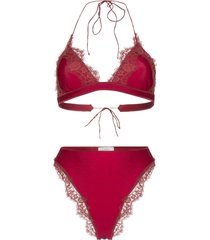 oséree red travaille lace triangle bikini