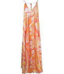 emilio pucci abstract-print long beach dress - orange