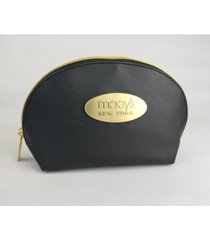 macy's crosshatch large cosmetic bag/gold new york plaque, created for macy's