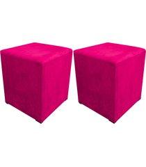 kit 02 puff decorativo d'rossi dado quadrado suede pink