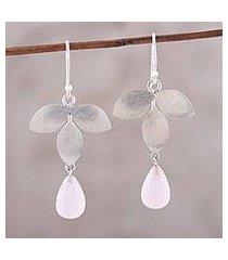 chalcedony dangle earrings, 'forest shimmer' (india)