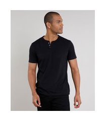 camiseta masculina básica manga curta gola portuguesa preta