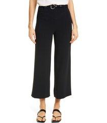 women's cinq a sept polly belted wide leg pants, size 00 - black