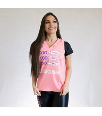 camiseta fit training brasil no excuses c/ capuz feminina