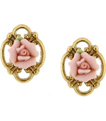 2028 gold-tone pink porcelain rose button earrings