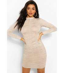 funnel neck ruched mini dress, stone