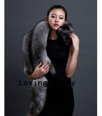 real dark silver fox fur scarf /cape/ collar / wrap grey shawl stole 100-135 cm