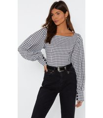 womens taking square of business gingham blouse - white
