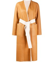 blancha belted mid-length coat - neutrals
