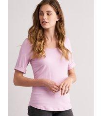 dames t-shirt met opgerolde mouwen