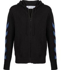 black and blue diagonal stripe knit zip hoodie