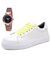 tênis sapatênis casual com relógio gold feminino dubuy 310mr branco
