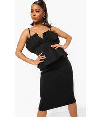 strakke scuba peplum midi jurk, zwart