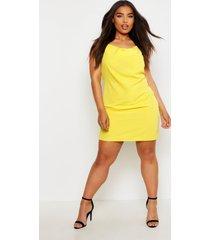 plus cowl neck woven slip dress, yellow