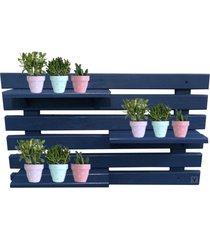 floreira vertical madeira alce couch vaso parede azul 90cm