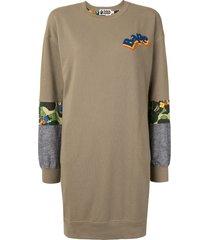 a bathing ape® contrast-panel sweatshirt dress - green