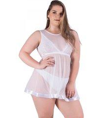camisola recriar lingerie cecillia em tule branca branco - branco - feminino - dafiti