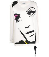 liu jo face-print lace-up sweatshirt - white