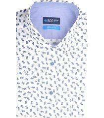 bos bright blue overhemd wit met print 20107wo32bo/240 blue