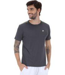 camiseta fila aztec box - masculina - cinza esc/verde cla