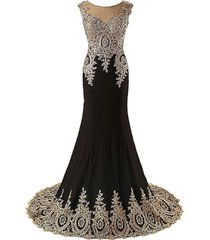 sheer bateau long mermaid gold lace beaded crystals prom evening dresses plus si