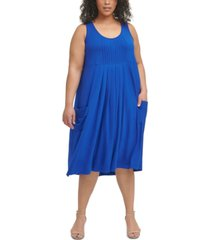 calvin klein plus size solid pleated scoop-neck dress