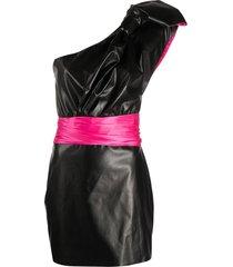 redemption one shoulder silk dress - black