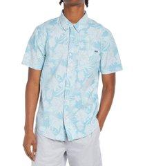 men's chubbies the wanderer floral short sleeve button-down shirt, size x-large - blue/green