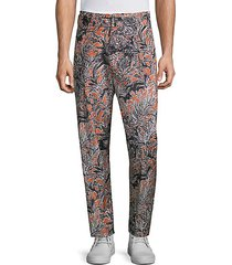 cropped pleated printed pants