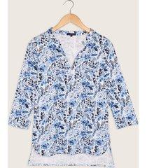 camiseta estampada manga 3/4 cuello mao-l