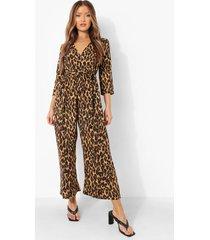 luipaardprint wikkel culotte jumpsuit met ceintuur, brown