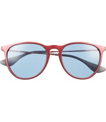 women's ray-ban erika classic 54mm sunglasses - red black/ dark blue solid