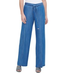 calvin klein wide-leg pull-on pants