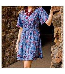 cotton tunic-style dress, 'garden bliss' (india)