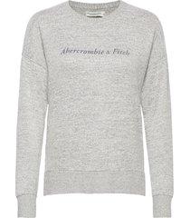 anf womens graphics stickad tröja grå abercrombie & fitch