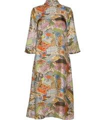 dean, 926 silk twill jurk knielengte multi/patroon stine goya