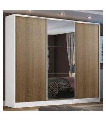 guarda roupa casal 100% mdf madesa zurique 3 portas de correr com espelho - branco/rustic branco