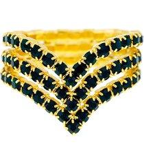 anel horus import verde esmeralda triplo banhado ouro amarelo 18 k - 1010104 - tricae