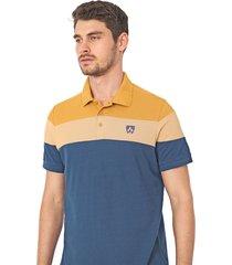 camisa polo mr kitsch reta recortes azul-marinho/amarela - kanui
