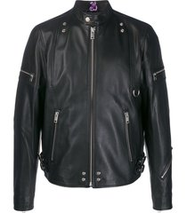 diesel shoulder zips biker jacket - black