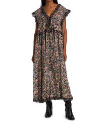 free people women's milania floral maxi dress - confetti coral - size xs