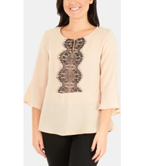 ny collection lace-panel 3/4-sleeve peplum top