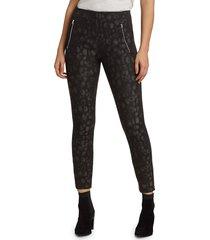 rag & bone women's simone leopard leggings - black - size 8