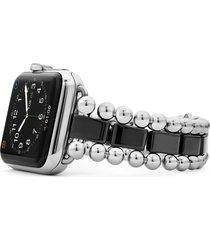 women's lagos smart caviar black ceramic & stainless steel watchband for apple watch