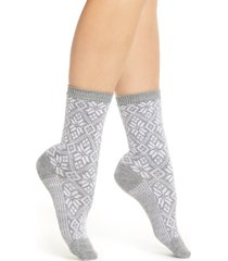 women's smartwool traditional snowflake crew socks, size small - grey